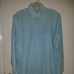 Checkered Light Blue Men's Dress Shirt